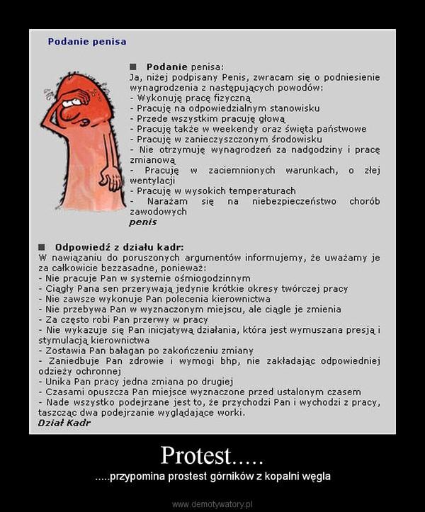 Protest..... – .....przypomina prostest górników z kopalni węgla