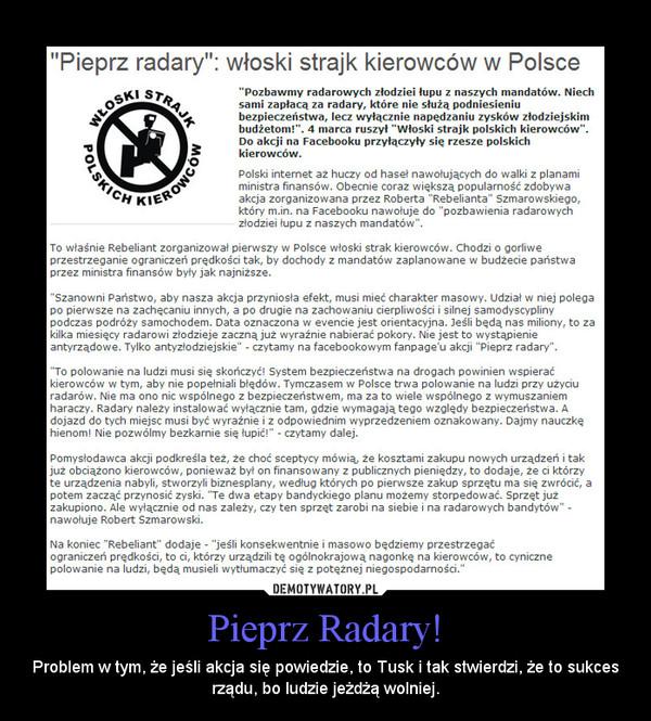 Pieprz Radary! – Problem w tym, że jeśli akcja się powiedzie, to Tusk i tak stwierdzi, że to sukces rządu, bo ludzie jeżdżą wolniej.