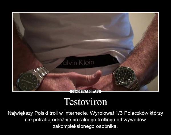 Testoviron – Największy Polski troll w Internecie. Wyrolował 1/3 Polaczków którzy nie potrafią odróżnić brutalnego trollingu od wywodów zakompleksionego osobnika.
