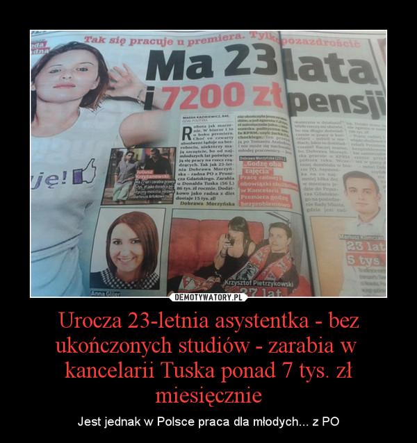 Urocza 23-letnia asystentka - bez ukończonych studiów - zarabia w kancelarii Tuska ponad 7 tys. zł miesięcznie – Jest jednak w Polsce praca dla młodych... z PO