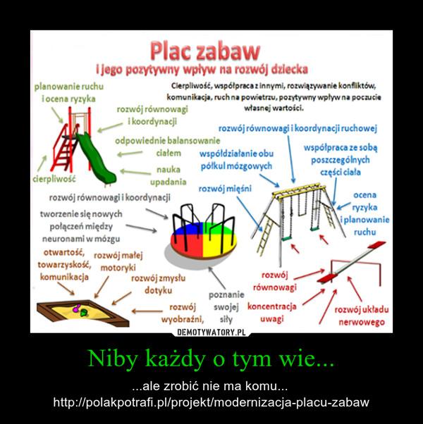 Niby każdy o tym wie... – ...ale zrobić nie ma komu... \nhttp://polakpotrafi.pl/projekt/modernizacja-placu-zabaw