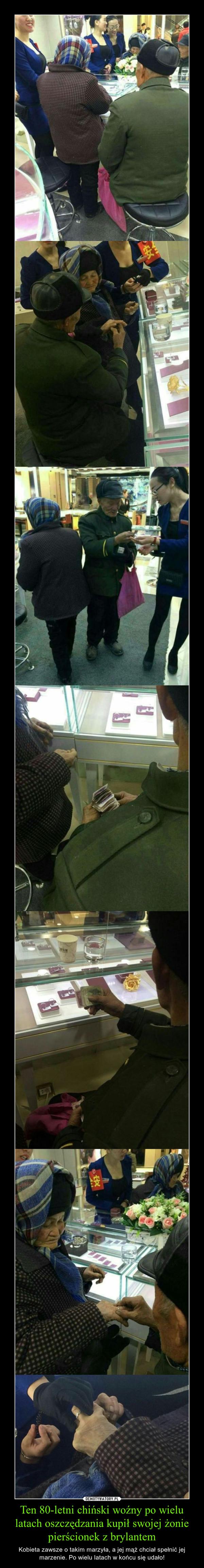 Ten 80-letni chiński woźny po wielu latach oszczędzania kupił swojej żonie pierścionek z brylantem – Kobieta zawsze o takim marzyła, a jej mąż chciał spełnić jej marzenie. Po wielu latach w końcu się udało!