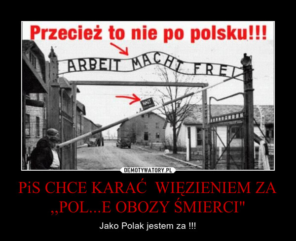 """PiS CHCE KARAĆ  WIĘZIENIEM ZA ,,POL...E OBOZY ŚMIERCI"""" – Jako Polak jestem za !!!"""