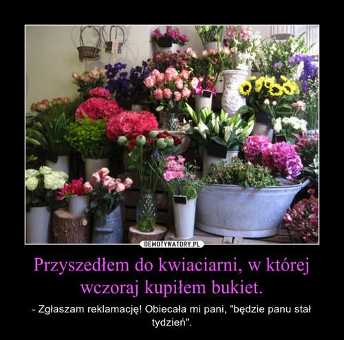 Przyszedłem do kwiaciarni, w której wczoraj kupiłem bukiet.