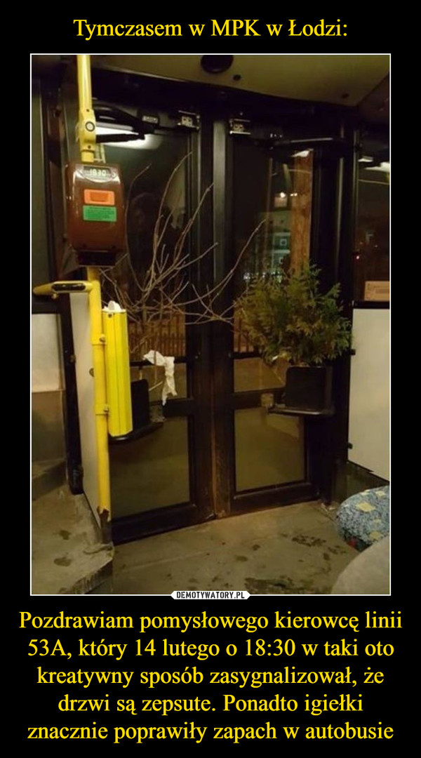 Pozdrawiam pomysłowego kierowcę linii 53A, który 14 lutego o 18:30 w taki oto kreatywny sposób zasygnalizował, że drzwi są zepsute. Ponadto igiełki znacznie poprawiły zapach w autobusie –