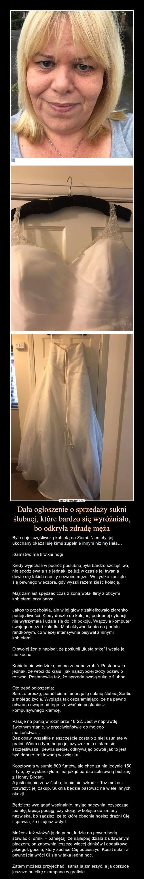 Dała ogłoszenie o sprzedaży sukni ślubnej, które bardzo się wyróżniało, bo odkryła zdradę męża