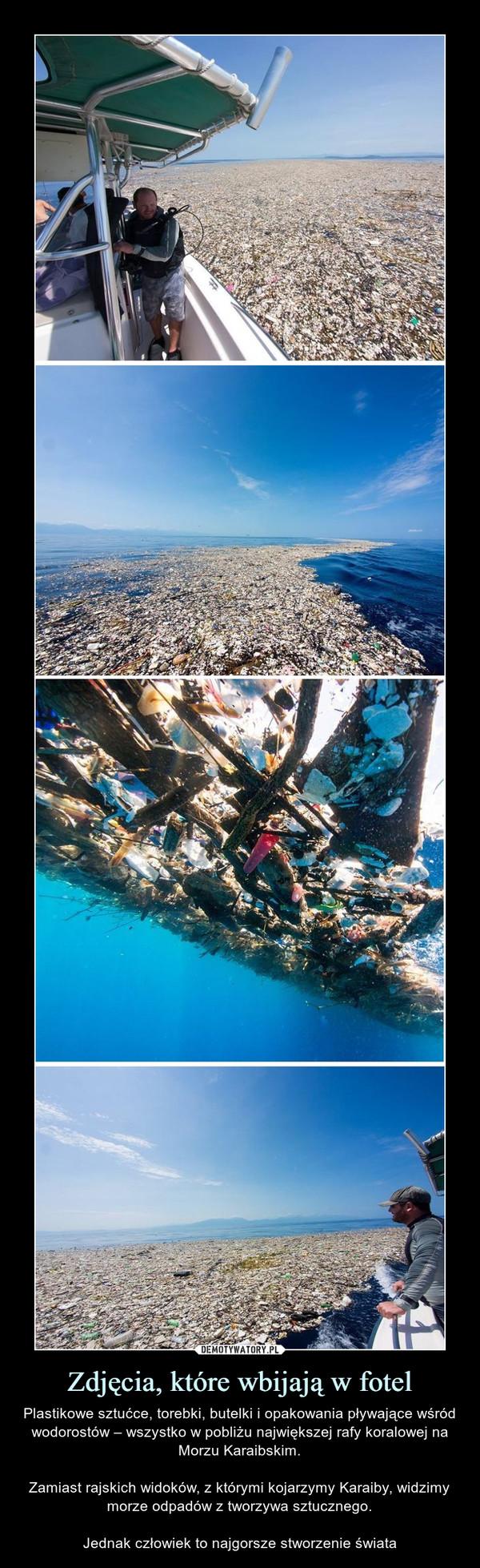 Zdjęcia, które wbijają w fotel – Plastikowe sztućce, torebki, butelki i opakowania pływające wśród wodorostów – wszystko w pobliżu największej rafy koralowej na Morzu Karaibskim.Zamiast rajskich widoków, z którymi kojarzymy Karaiby, widzimy morze odpadów z tworzywa sztucznego.Jednak człowiek to najgorsze stworzenie świata
