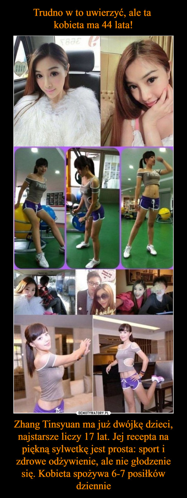 Zhang Tinsyuan ma już dwójkę dzieci, najstarsze liczy 17 lat. Jej recepta na piękną sylwetkę jest prosta: sport i zdrowe odżywienie, ale nie głodzenie się. Kobieta spożywa 6-7 posiłków dziennie –