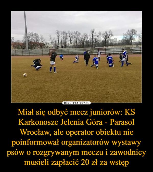 Miał się odbyć mecz juniorów: KS Karkonosze Jelenia Góra - Parasol Wrocław, ale operator obiektu nie poinformował organizatorów wystawy psów o rozgrywanym meczu i zawodnicy musieli zapłacić 20 zł za wstęp –