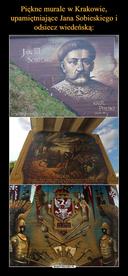 Piękne murale w Krakowie, upamiętniające Jana Sobieskiego i odsiecz wiedeńską:
