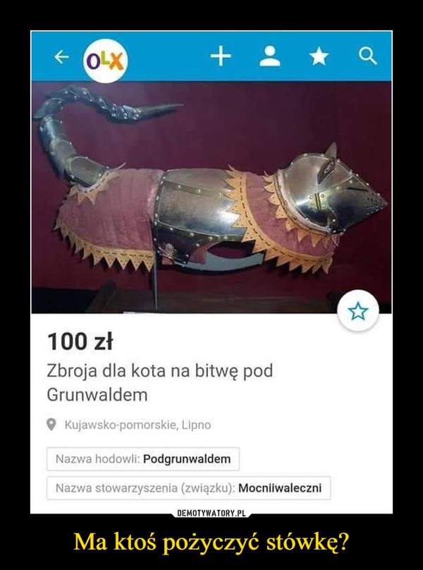Ma ktoś pożyczyć stówkę? –  100 zł Zbroja dla kota na bitwę pod Grunwaldem 9 Kujawsko-pomorskie, Lipno Nazwa hodowli: Podgrunwaldem Nazwa stowarzyszenia (związku): Mocniiwaleczni