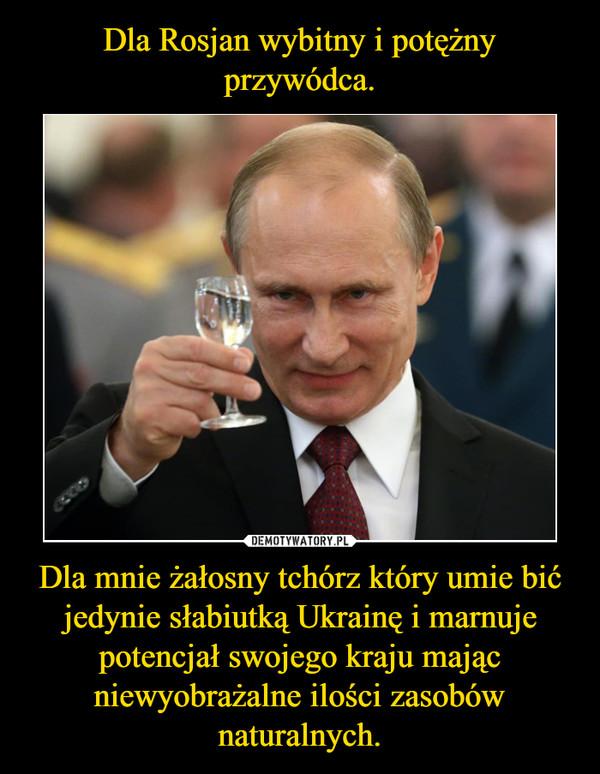Dla mnie żałosny tchórz który umie bić jedynie słabiutką Ukrainę i marnuje potencjał swojego kraju mając niewyobrażalne ilości zasobów naturalnych. –