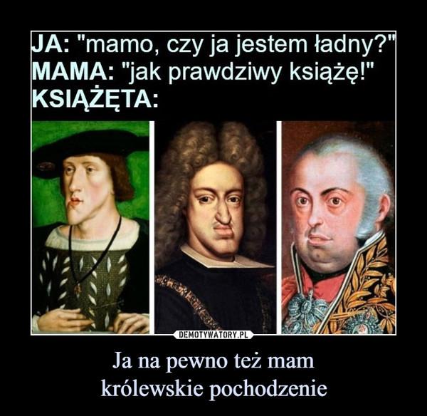 """Ja na pewno też mamkrólewskie pochodzenie –  JA: """"mamo, czy ja jestem ładny?"""" MAMA: """"jak prawdziwy książę!"""" KSIĄŻĘTA:"""