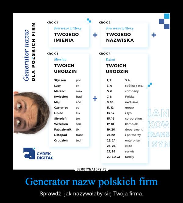 Generator nazw polskich firm – Sprawdź, jak nazywałaby się Twoja firma.