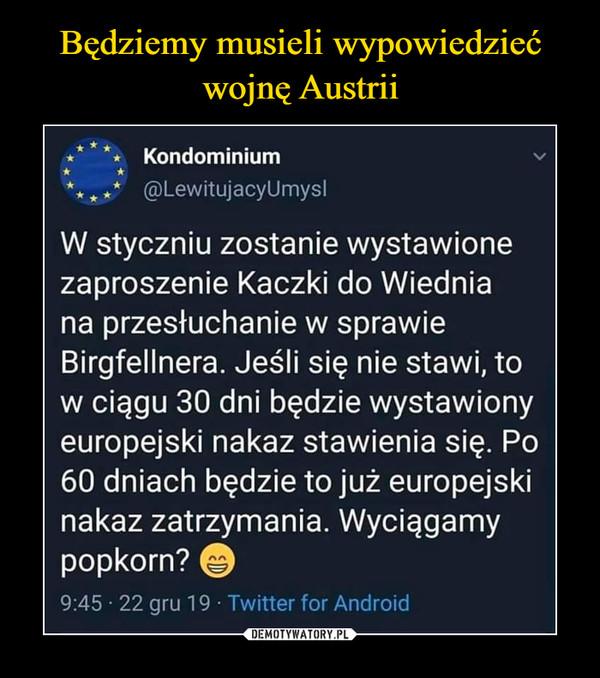 –  ** * **  Kondominium n* *** A ** @LewitujacyUmyslW styczniu zostanie wystawionezaproszenie Kaczki do Wiedniana przesłuchanie w sprawieBirgfellnera. Jeśli się nie stawi, tow ciągu 30 dni będzie wystawionyeuropejski nakaz stawienia się. Po60 dniach będzie to już europejskinakaz zatrzymania. Wyciągamypopkorn? ©