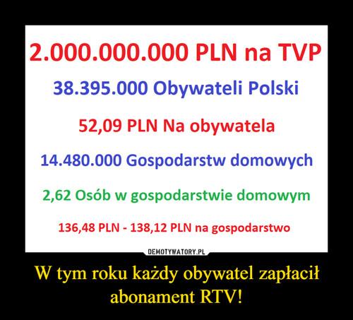 W tym roku każdy obywatel zapłacił abonament RTV!
