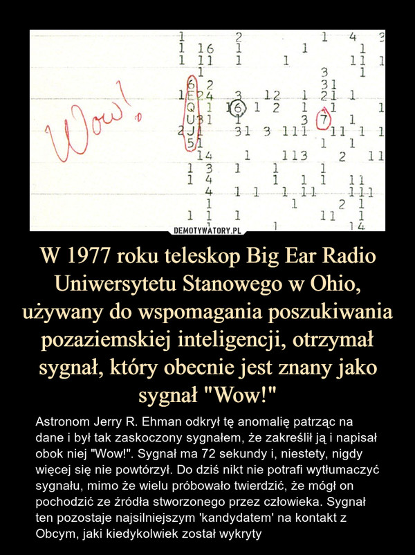 """W 1977 roku teleskop Big Ear Radio Uniwersytetu Stanowego w Ohio, używany do wspomagania poszukiwania pozaziemskiej inteligencji, otrzymał sygnał, który obecnie jest znany jako sygnał """"Wow!"""" – Astronom Jerry R. Ehman odkrył tę anomalię patrząc na dane i był tak zaskoczony sygnałem, że zakreślił ją i napisał obok niej """"Wow!"""". Sygnał ma 72 sekundy i, niestety, nigdy więcej się nie powtórzył. Do dziś nikt nie potrafi wytłumaczyć sygnału, mimo że wielu próbowało twierdzić, że mógł on pochodzić ze źródła stworzonego przez człowieka. Sygnał ten pozostaje najsilniejszym 'kandydatem' na kontakt z Obcym, jaki kiedykolwiek został wykryty"""