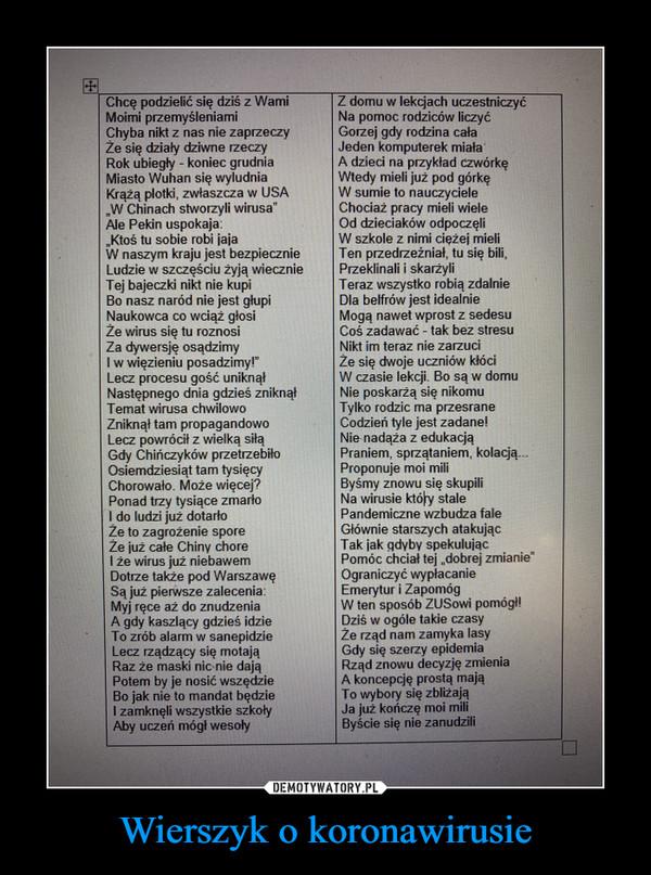 Wierszyk o koronawirusie –