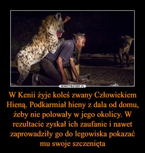 W Kenii żyje koleś zwany Człowiekiem Hieną. Podkarmiał hieny z dala od domu, żeby nie polowały w jego okolicy. W rezultacie zyskał ich zaufanie i nawet zaprowadziły go do legowiska pokazać mu swoje szczenięta