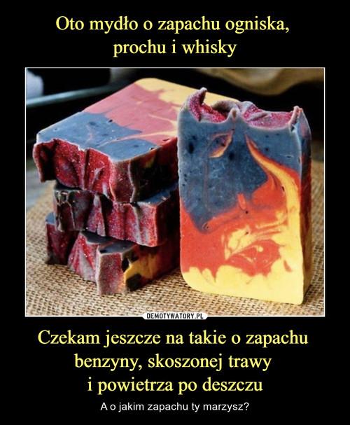 Oto mydło o zapachu ogniska,  prochu i whisky Czekam jeszcze na takie o zapachu  benzyny, skoszonej trawy  i powietrza po deszczu