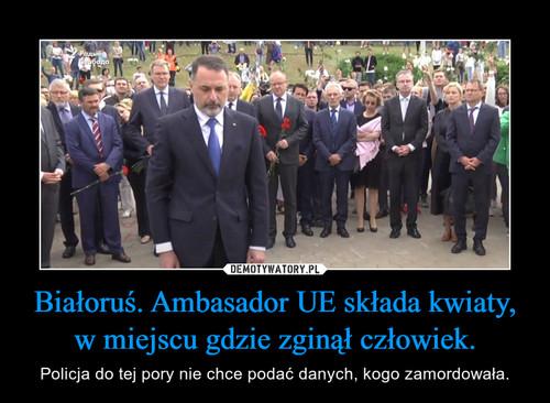 Białoruś. Ambasador UE składa kwiaty, w miejscu gdzie zginął człowiek.