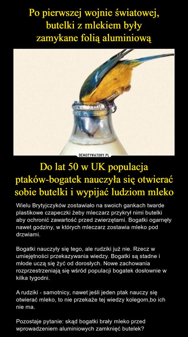 Do lat 50 w UK populacja ptaków-bogatek nauczyła się otwierać sobie butelki i wypijać ludziom mleko – Wielu Brytyjczyków zostawiało na swoich gankach twarde plastikowe czapeczki żeby mleczarz przykrył nimi butelki aby ochronić zawartość przed zwierzętami. Bogatki ogarnęły nawet godziny, w których mleczarz zostawia mleko pod drzwiami.Bogatki nauczyły się tego, ale rudziki już nie. Rzecz w umiejętności przekazywania wiedzy. Bogatki są stadne i młode uczą się żyć od dorosłych. Nowe zachowania rozprzestrzeniają się wśród populacji bogatek dosłownie w kilka tygodni.A rudziki - samotnicy, nawet jeśli jeden ptak nauczy się otwierać mleko, to nie przekaże tej wiedzy kolegom,bo ich nie ma. Pozostaje pytanie: skąd bogatki brały mleko przed wprowadzeniem aluminiowych zamknięć butelek?