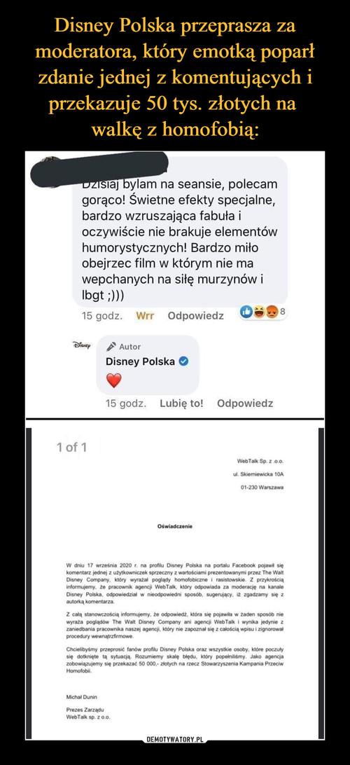 Disney Polska przeprasza za moderatora, który emotką poparł zdanie jednej z komentujących i przekazuje 50 tys. złotych na  walkę z homofobią: