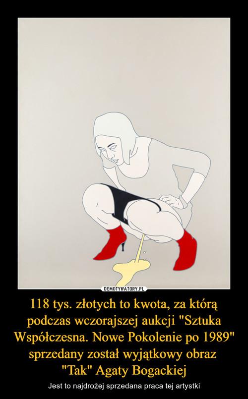 """118 tys. złotych to kwota, za którą podczas wczorajszej aukcji """"Sztuka Współczesna. Nowe Pokolenie po 1989"""" sprzedany został wyjątkowy obraz  """"Tak"""" Agaty Bogackiej"""