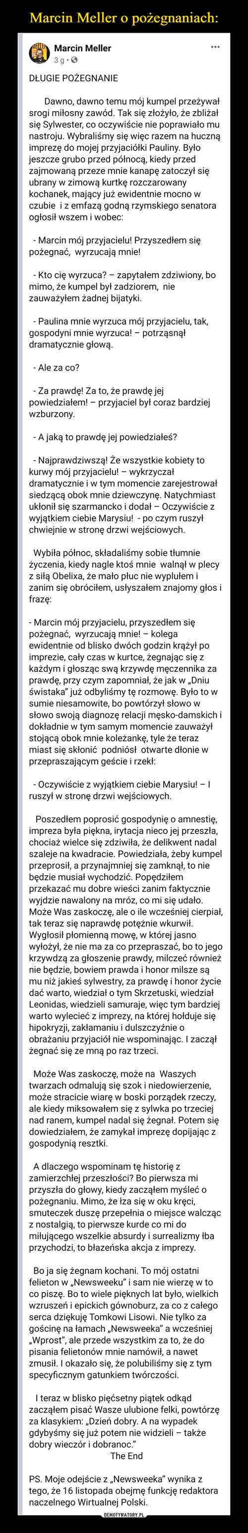 Marcin Meller o pożegnaniach: