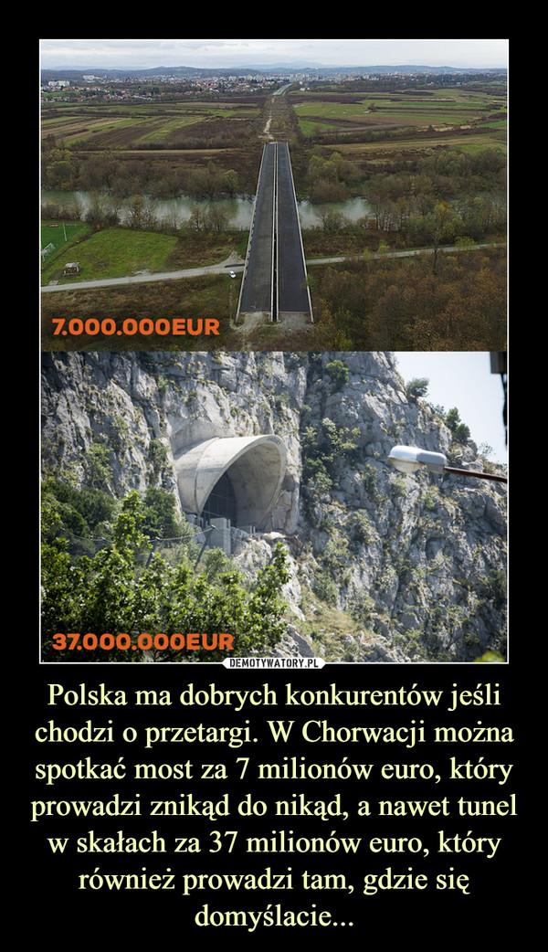Polska ma dobrych konkurentów jeśli chodzi o przetargi. W Chorwacji można spotkać most za 7 milionów euro, który prowadzi znikąd do nikąd, a nawet tunel w skałach za 37 milionów euro, który również prowadzi tam, gdzie się domyślacie... –