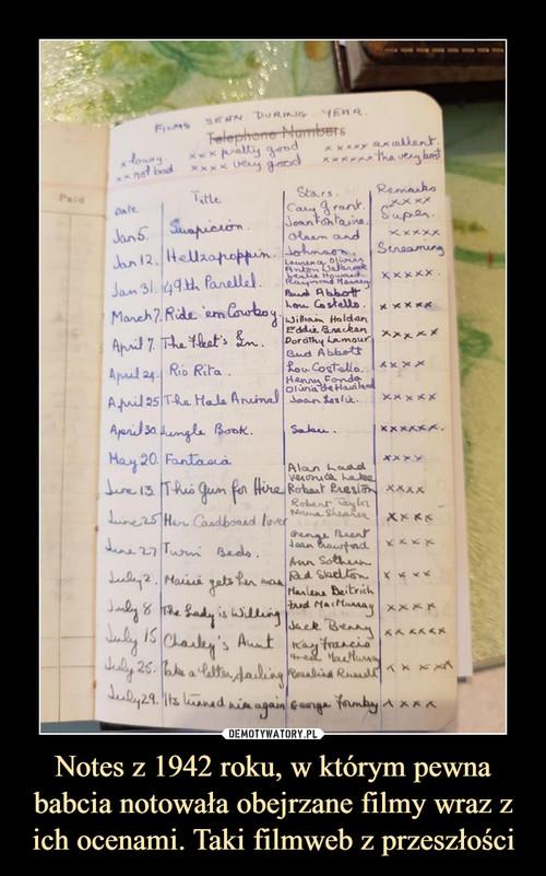 Notes z 1942 roku, w którym pewna babcia notowała obejrzane filmy wraz z ich ocenami. Taki filmweb z przeszłości