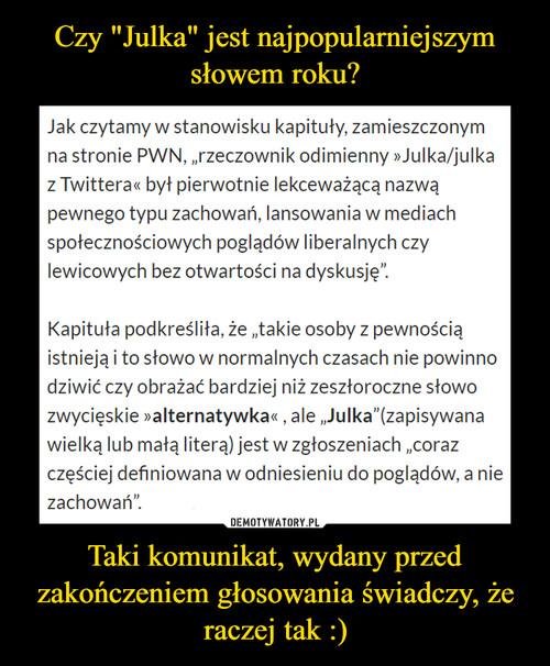 """Czy """"Julka"""" jest najpopularniejszym słowem roku? Taki komunikat, wydany przed zakończeniem głosowania świadczy, że raczej tak :)"""