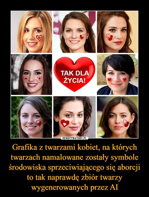 Grafika z twarzami kobiet, na których twarzach namalowane zostały symbole środowiska sprzeciwiającego się aborcji to tak naprawdę zbiór twarzy wygenerowanych przez AI