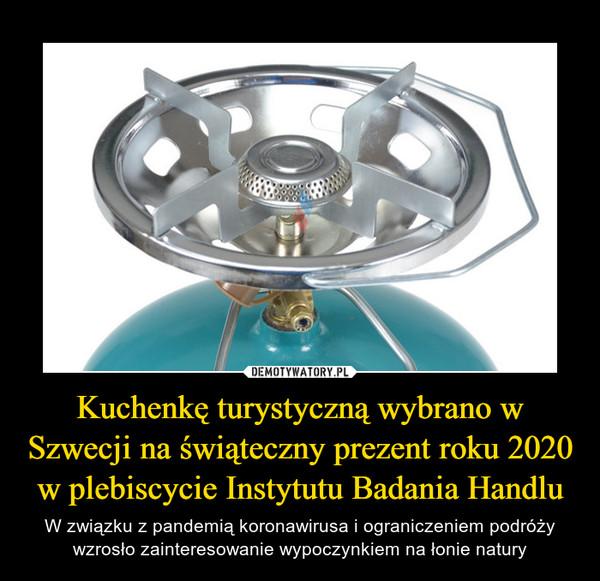 Kuchenkę turystyczną wybrano w Szwecji na świąteczny prezent roku 2020 w plebiscycie Instytutu Badania Handlu – W związku z pandemią koronawirusa i ograniczeniem podróży wzrosło zainteresowanie wypoczynkiem na łonie natury