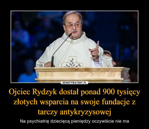 Ojciec Rydzyk dostał ponad 900 tysięcy złotych wsparcia na swoje fundacje z tarczy antykryzysowej – Na psychiatrię dziecięcą pieniędzy oczywiście nie ma
