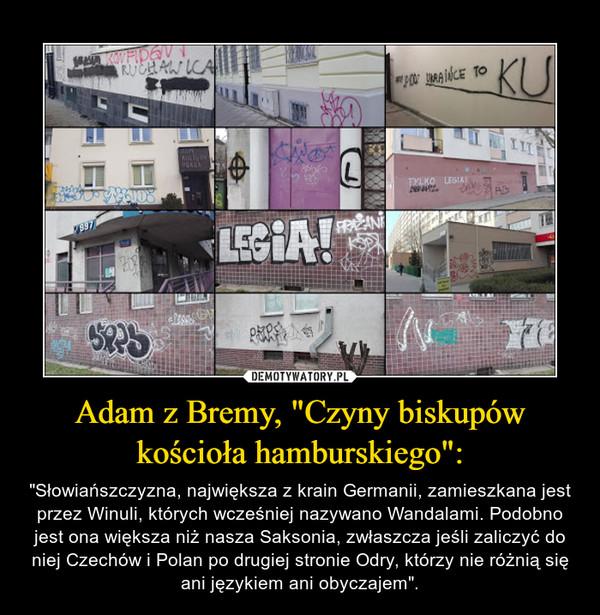 """Adam z Bremy, """"Czyny biskupów kościoła hamburskiego"""": – """"Słowiańszczyzna, największa z krain Germanii, zamieszkana jest przez Winuli, których wcześniej nazywano Wandalami. Podobno jest ona większa niż nasza Saksonia, zwłaszcza jeśli zaliczyć do niej Czechów i Polan po drugiej stronie Odry, którzy nie różnią się ani językiem ani obyczajem""""."""