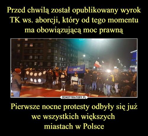 Przed chwilą został opublikowany wyrok TK ws. aborcji, który od tego momentu ma obowiązującą moc prawną Pierwsze nocne protesty odbyły się już we wszystkich większych  miastach w Polsce