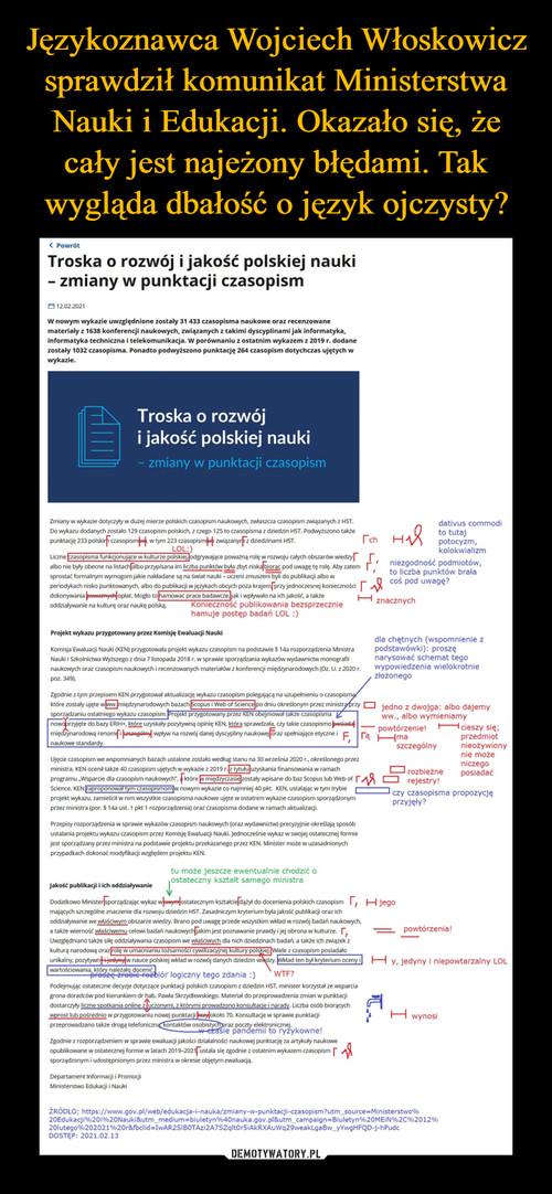 Językoznawca Wojciech Włoskowicz sprawdził komunikat Ministerstwa Nauki i Edukacji. Okazało się, że cały jest najeżony błędami. Tak wygląda dbałość o język ojczysty?