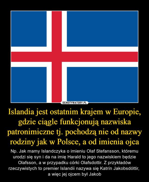Islandia jest ostatnim krajem w Europie, gdzie ciągle funkcjonują nazwiska patronimiczne tj. pochodzą nie od nazwy rodziny jak w Polsce, a od imienia ojca – Np. Jak mamy Islandczyka o imieniu Olaf Stefansson, któremu urodzi się syn i da na imię Harald to jego nazwiskiem będzie Olafsson, a w przypadku córki Olafsdottir. Z przykładów rzeczywistych to premier Islandii nazywa się Katrín Jakobsdóttir, a więc jej ojcem był Jakob