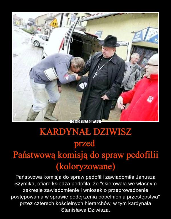 """KARDYNAŁ DZIWISZprzed Państwową komisją do spraw pedofilii(koloryzowane) – Państwowa komisja do spraw pedofilii zawiadomiła Janusza Szymika, ofiarę księdza pedofila, że """"skierowała we własnym zakresie zawiadomienie i wniosek o przeprowadzenie postępowania w sprawie podejrzenia popełnienia przestępstwa"""" przez czterech kościelnych hierarchów, w tym kardynała Stanisława Dziwisza."""