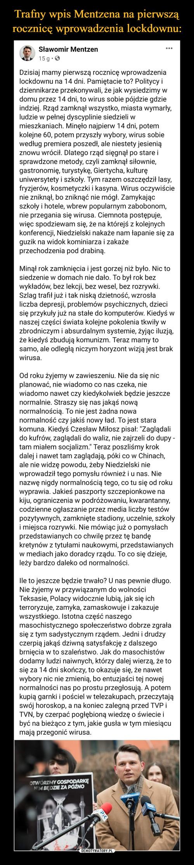 Trafny wpis Mentzena na pierwszą rocznicę wprowadzenia lockdownu: