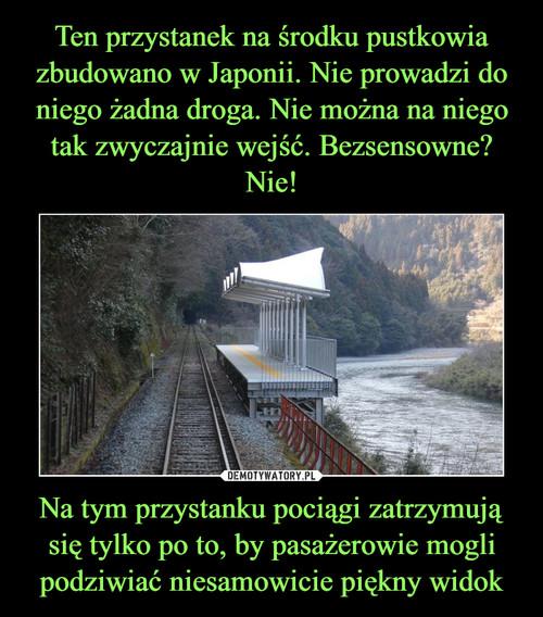 Ten przystanek na środku pustkowia zbudowano w Japonii. Nie prowadzi do niego żadna droga. Nie można na niego tak zwyczajnie wejść. Bezsensowne? Nie! Na tym przystanku pociągi zatrzymują się tylko po to, by pasażerowie mogli podziwiać niesamowicie piękny widok