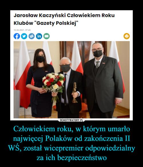 Człowiekiem roku, w którym umarło najwięcej Polaków od zakończenia II WŚ, został wicepremier odpowiedzialny za ich bezpieczeństwo