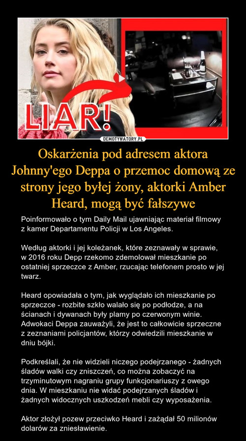 Oskarżenia pod adresem aktora Johnny'ego Deppa o przemoc domową ze strony jego byłej żony, aktorki Amber Heard, mogą być fałszywe
