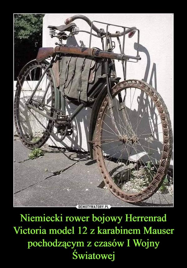 Niemiecki rower bojowy Herrenrad Victoria model 12 z karabinem Mauser pochodzącym z czasów I Wojny Światowej
