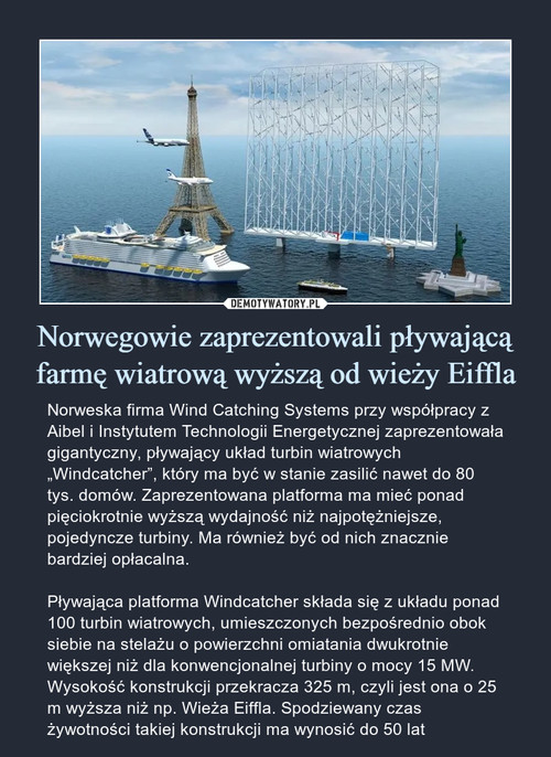 Norwegowie zaprezentowali pływającą farmę wiatrową wyższą od wieży Eiffla