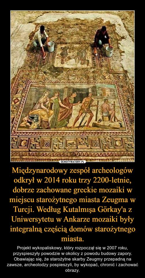 Międzynarodowy zespół archeologów odkrył w 2014 roku trzy 2200-letnie, dobrze zachowane greckie mozaiki w miejscu starożytnego miasta Zeugma w Turcji. Według Kutalmışa Görkay'a z Uniwersytetu w Ankarze mozaiki były integralną częścią domów starożytnego miasta.