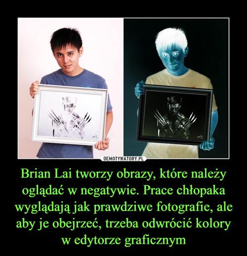 Brian Lai tworzy obrazy, które należy oglądać w negatywie. Prace chłopaka wyglądają jak prawdziwe fotografie, ale aby je obejrzeć, trzeba odwrócić kolory w edytorze graficznym