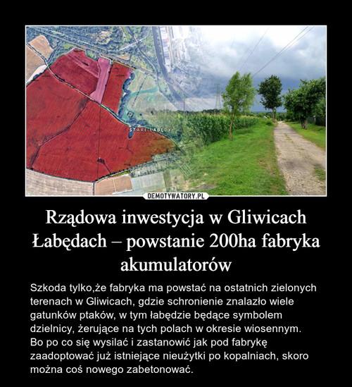 Rządowa inwestycja w Gliwicach Łabędach – powstanie 200ha fabryka akumulatorów