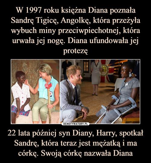 W 1997 roku księżna Diana poznała Sandrę Tigicę, Angolkę, która przeżyła wybuch miny przeciwpiechotnej, która urwała jej nogę. Diana ufundowała jej protezę 22 lata później syn Diany, Harry, spotkał Sandrę, która teraz jest mężatką i ma córkę. Swoją córkę nazwała Diana